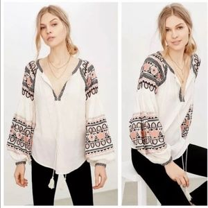 Urban Outfitters ECOTE Embroidered Peasant Top